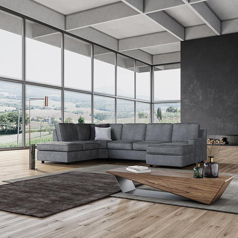 divano con penisola e contenitore poltrone e sofà